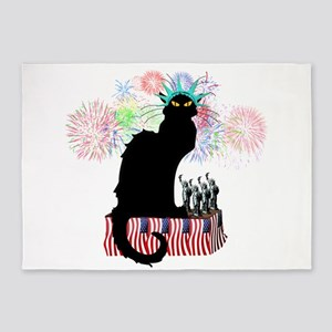 Lady Liberty - Patriotic Le Chat No 5'x7'Area Rug