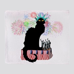 Lady Liberty - Patriotic Le Chat Noi Throw Blanket