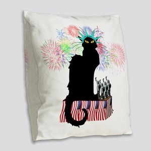 Lady Liberty - Patriotic Le Ch Burlap Throw Pillow