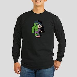 Chibi Hulk Half-and-Half Long Sleeve Dark T-Shirt