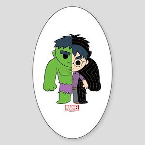 Chibi Hulk Half-and-Half Sticker (Oval)