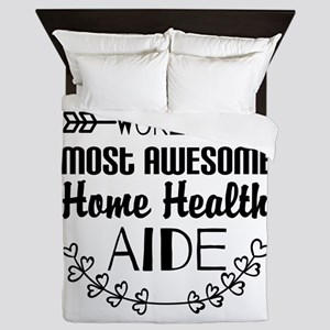 World's Most Awesome Home Health Aide Queen Duvet
