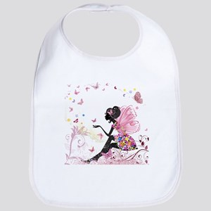 Whimsical Pink Flower Fairy Girl Butterflies Bib