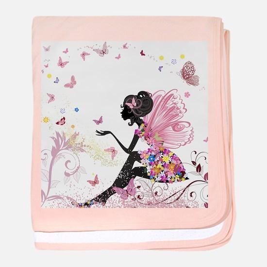 Whimsical Pink Flower Fairy Girl Butt baby blanket