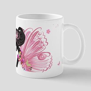 Whimsical Pink Flower Fairy Girl Butterflies Mugs