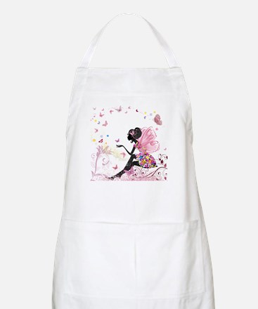 Whimsical Pink Flower Fairy Girl Butterflies Apron