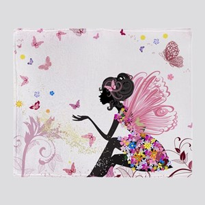Whimsical Pink Flower Fairy Girl But Throw Blanket