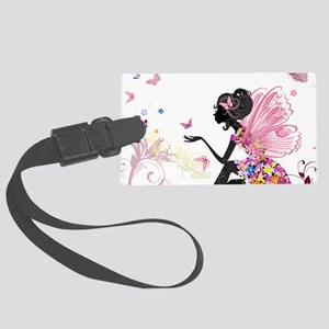 Whimsical Pink Flower Fairy Girl Large Luggage Tag