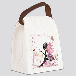 Whimsical Pink Flower Fairy Girl Canvas Lunch Bag