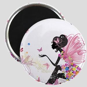 Whimsical Pink Flower Fairy Girl Butterfli Magnets