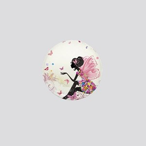 Whimsical Pink Flower Fairy Mini Button (10 pack)