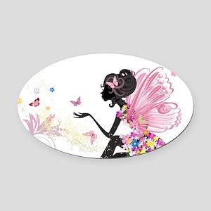 Whimsical Pink Flower Fairy Girl B Oval Car Magnet