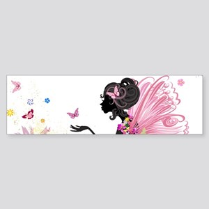 Whimsical Pink Flower Fairy Girl Bu Bumper Sticker