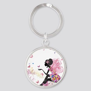 Whimsical Pink Flower Fairy Girl B Keychains