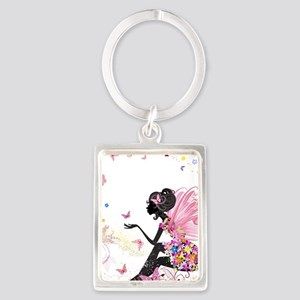 Whimsical Pink Flower Fairy Girl B Keychains