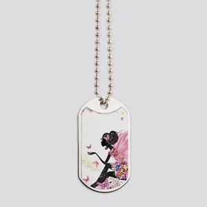 Whimsical Pink Flower Fairy Girl Butterfl Dog Tags
