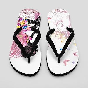 Whimsical Pink Flower Fairy Girl Butter Flip Flops