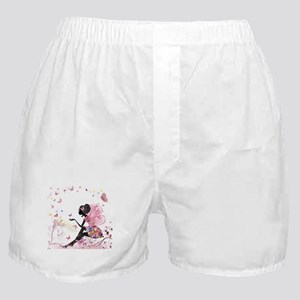 Whimsical Pink Flower Fairy Girl Butt Boxer Shorts