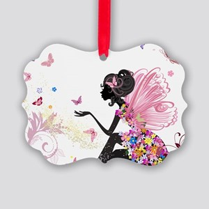Whimsical Pink Flower Fairy Girl Picture Ornament