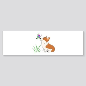 Corgi with butterfly Bumper Sticker