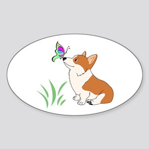 Corgi with butterfly Sticker