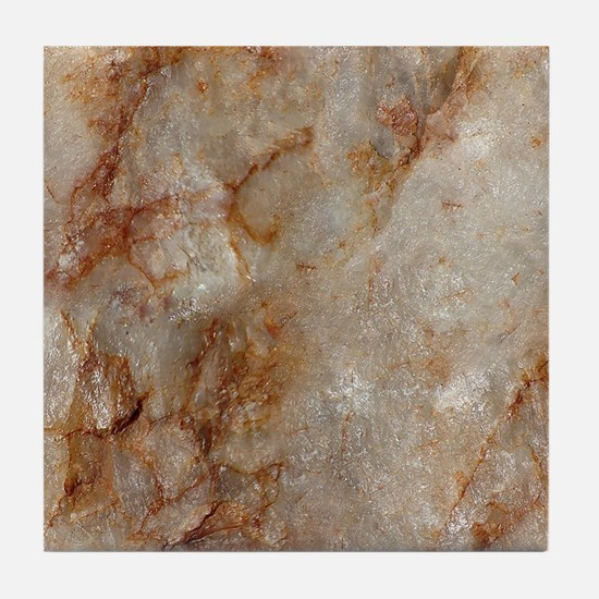 Realistic Brown Faux Marble Stone Pat Tile Coaster