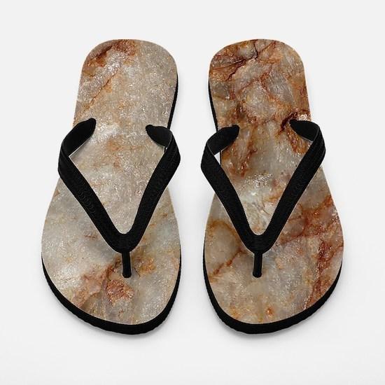 Realistic Brown Faux Marble Stone Patte Flip Flops
