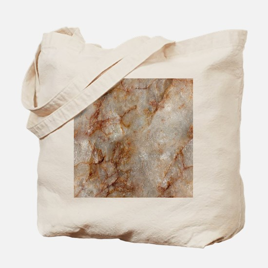 Realistic Brown Faux Marble Stone Pattern Tote Bag