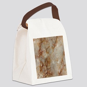 Realistic Brown Faux Marble Stone Canvas Lunch Bag