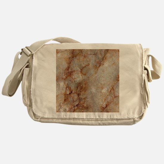 Realistic Brown Faux Marble Stone Pa Messenger Bag