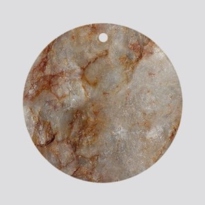 Realistic Brown Faux Marble Stone Ornament (Round)