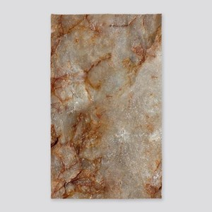 Realistic Brown Faux Marble Stone Pattern Area Rug