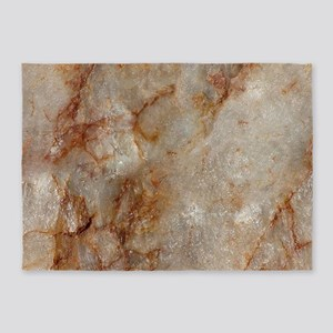 Realistic Brown Faux Marble Stone P 5'x7'Area Rug
