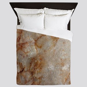 Realistic Brown Faux Marble Stone Patt Queen Duvet
