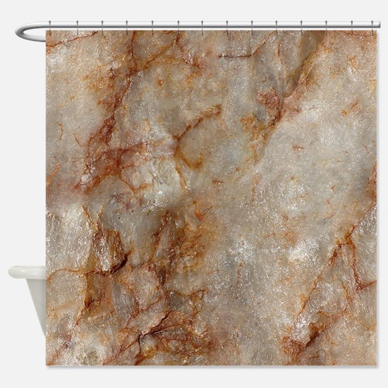 Realistic Brown Faux Marble Stone P Shower Curtain