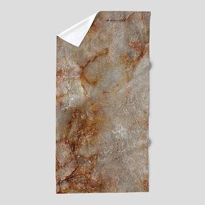 Realistic Brown Faux Marble Stone Patt Beach Towel