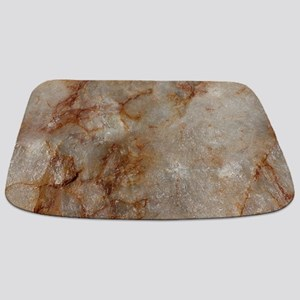 Realistic Brown Faux Marble Stone Pattern Bathmat