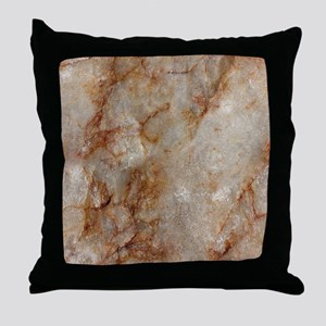 Realistic Brown Faux Marble Stone Pat Throw Pillow