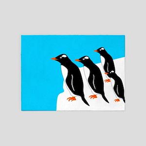 Gentoo Penguins 5'x7'Area Rug