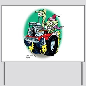 Zombie Hot Rod with Fez Yard Sign