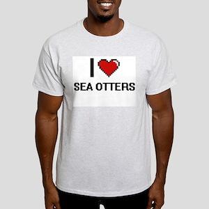 I love Sea Otters Digital Design T-Shirt