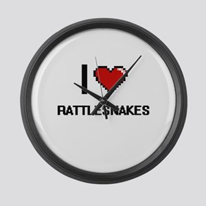 I love Rattlesnakes Digital Desig Large Wall Clock