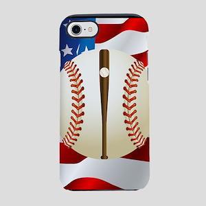 Baseball Ball On American Flag iPhone 7 Tough Case