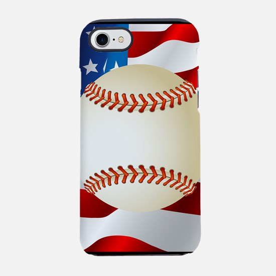 Baseball Ball On American Flag iPhone 7 Tough Case