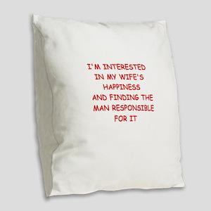 cheating Burlap Throw Pillow