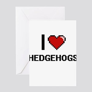 I love Hedgehogs Digital Design Greeting Cards