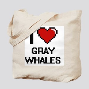 I love Gray Whales Digital Design Tote Bag