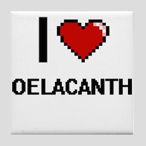 I love Coelacanths Digital Design Tile Coaster