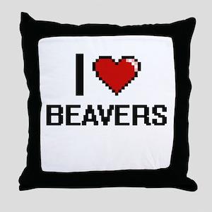 I love Beavers Digital Design Throw Pillow