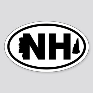 New Hampshire Old Man and Map Oval Sticker